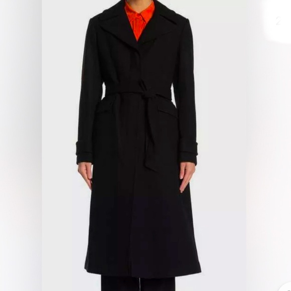 Kate Spade Twill Belted Wool-Blend Coat Size XL